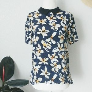 Zara Floral Peter Pan Collared Shirt Sleeve Blouse